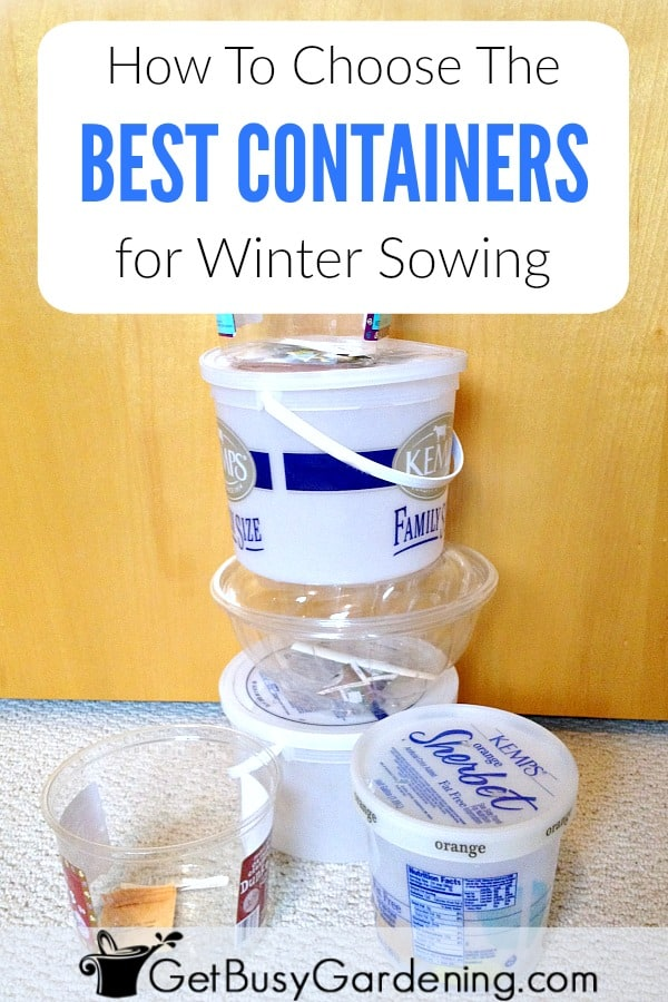 Mini greenhouses for winter sowing can be made out of recyclable plastic containers you throw away every day, like milk jugs, 2 liter bottles, restaurant, deli or bakery food containers, ice cream buckets, or mini containers with clear lids. Here's a guide for choosing the best winter sowing containers.