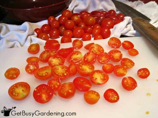 Cut Cherry Tomatoes In Half Before Drying