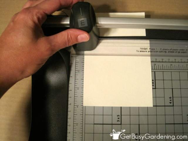 Cutting paper squares for seed saving envelopes