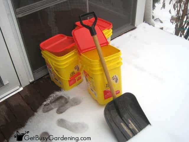 Getting ready to collect snow for watering my houseplants