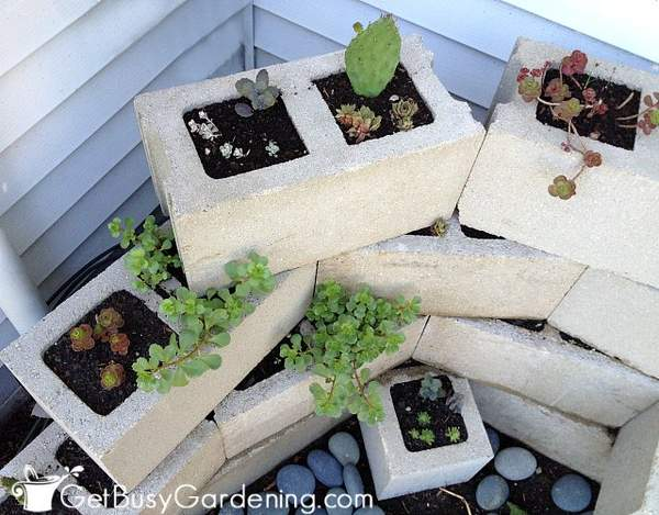 Decorative concrete block planter complete