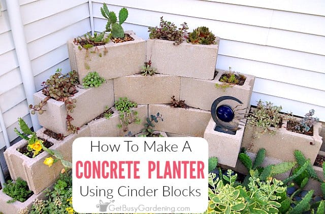 How To Make A Concrete Block Planter Using Cinder Blocks
