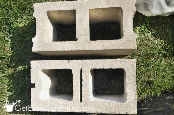 Two different types of cinder blocks
