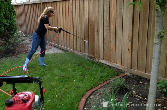 Me Pressure Washing The Fence