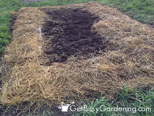 Add Straw Mulch Over New Garden Bed