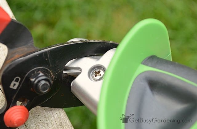 Sharpen hand pruners using tool sharpener