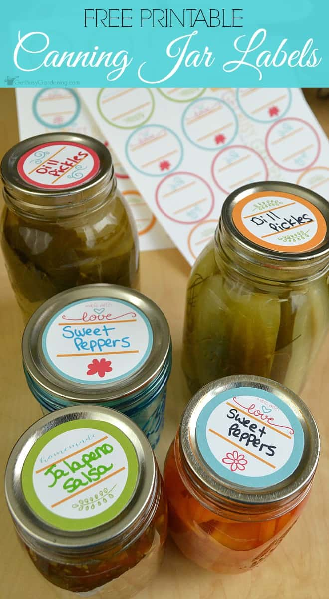 Add bright pops of color to your canning jars with these free printable canning labels! Perfect for adding a cute, personal touch to your home canned food!
