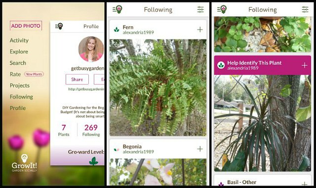GrowIt! app browse photos from those you're following