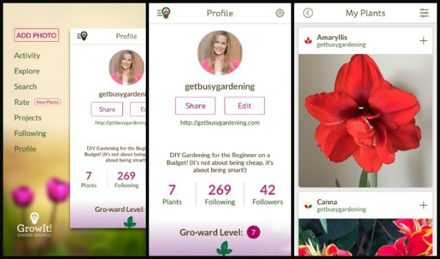 GrowIt! app profile and navigation