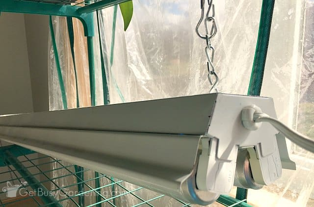 Using chain to hang grow light for seedlings