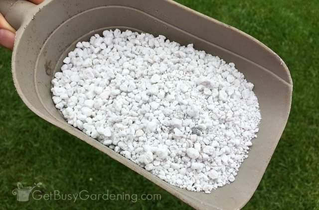 Perlite ingredient for container gardening soil recipes