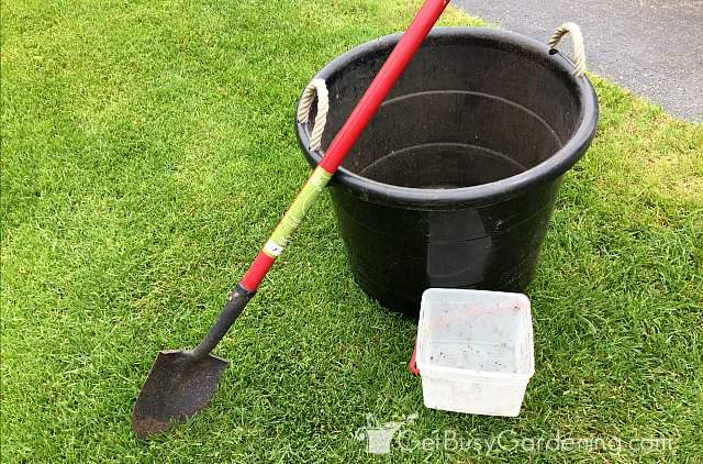 Supplies needed for making potting mix