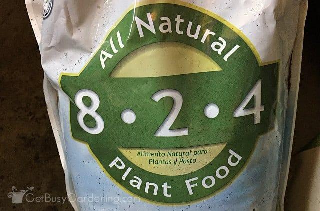 N-P-K nutrients on bag of gardening fertilizer