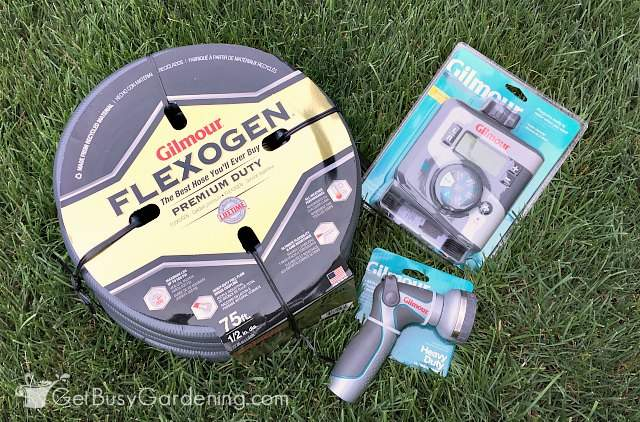 Gilmour Flexogen garden hose and attachments