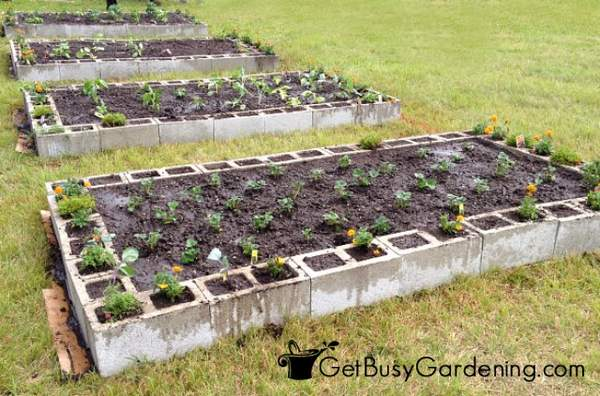 Cinder Block Raised Garden Beds Completed