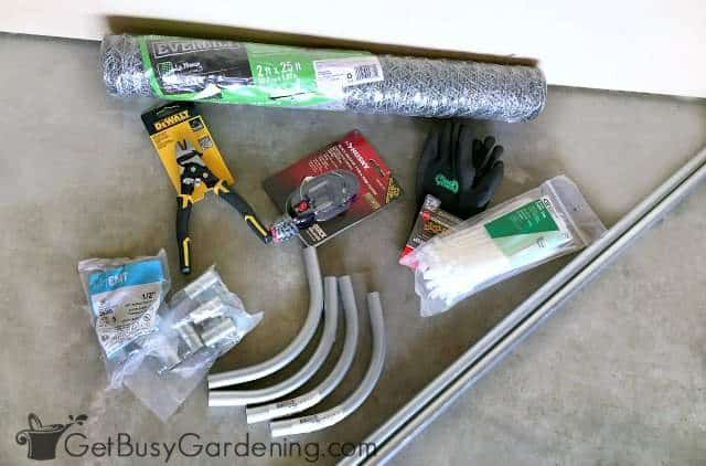 Supplies for building a pea trellis arch
