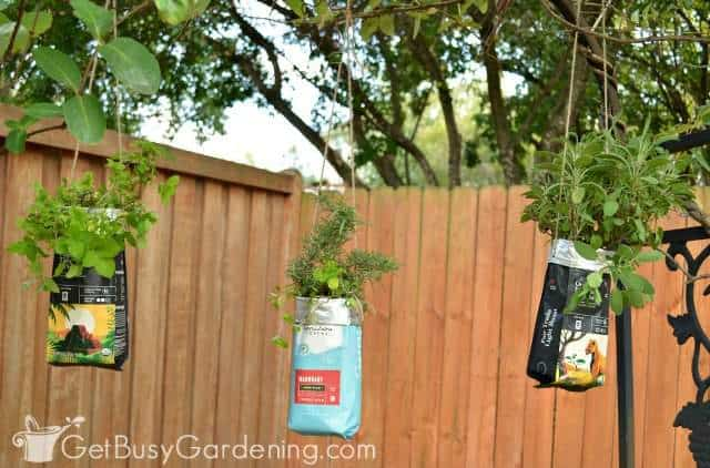 Hanging coffee bag planters DIY project