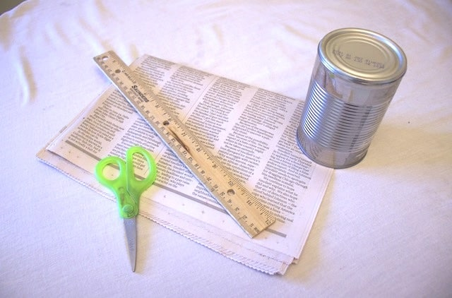 Supplies needed to make your own plantable pots from newspaper