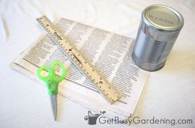 Supplies to make plantable pots from newspaper