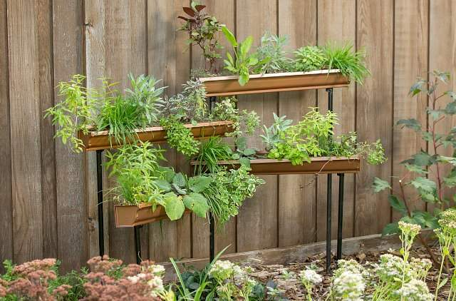 Vertical garden idea #10- Self-standing vertical gutter garden