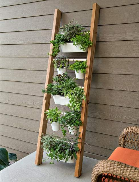 Antique ladder planter hanging herb vertical gardens