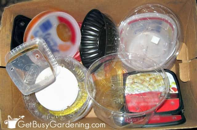 Box of clean winter sowing containers