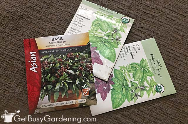 Different types of basil seed packets