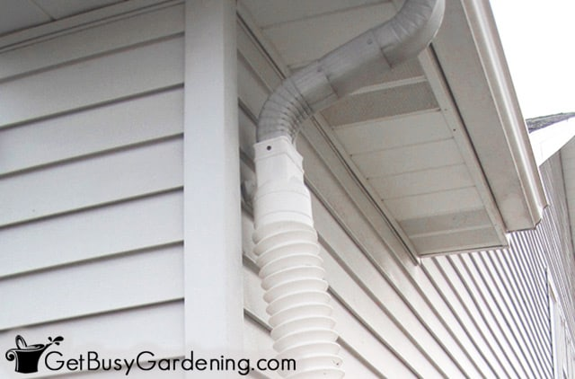 Replaced gutter with flexible tubing