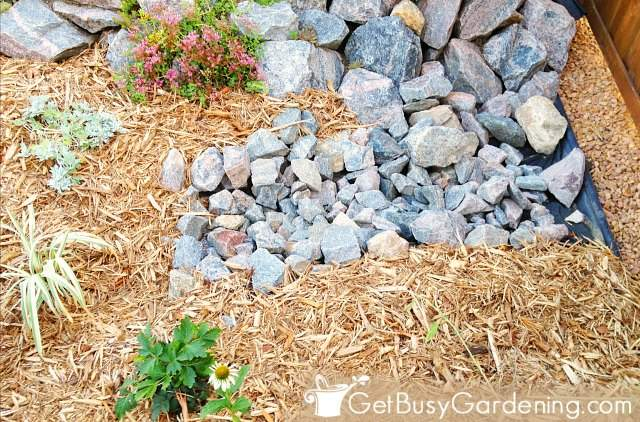 Installing the dry creek bed inlet