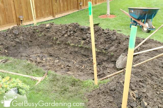 Rain garden basin ready for compost