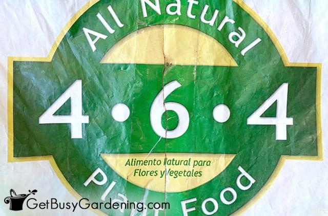N-P-K numbers on flower plant food bag