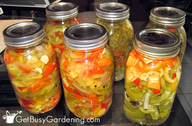 Canning peppers for long term storage