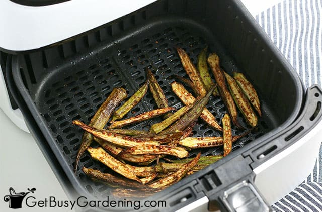 Baked okra fries in the air fryer