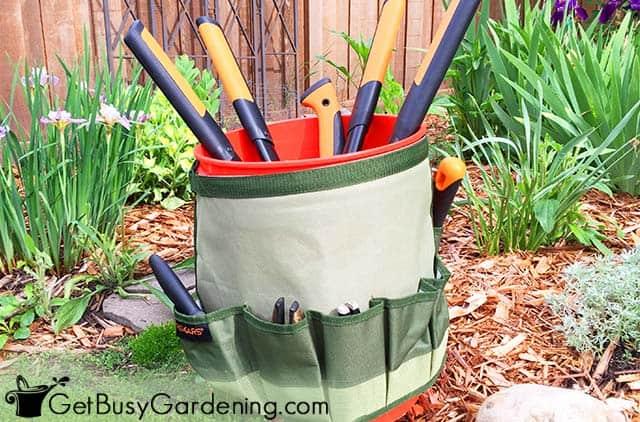 Garden tools organized in a portable caddy