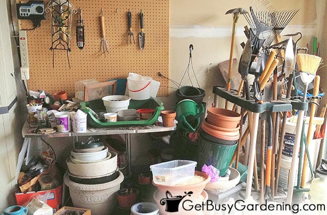 My super messy garage before organizing garden tools