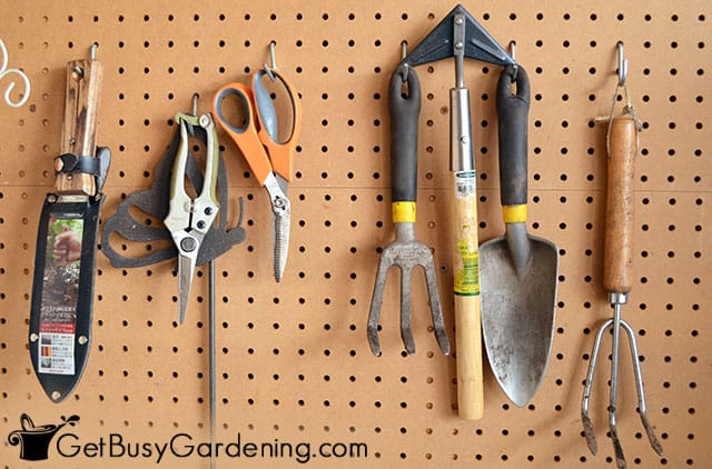 Organizing small hand tools by hanging on pegboard